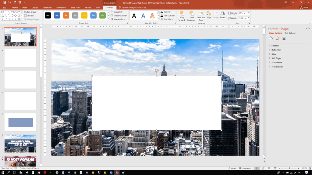We have inserted a rectangular shape which covers a section of the New York City image.