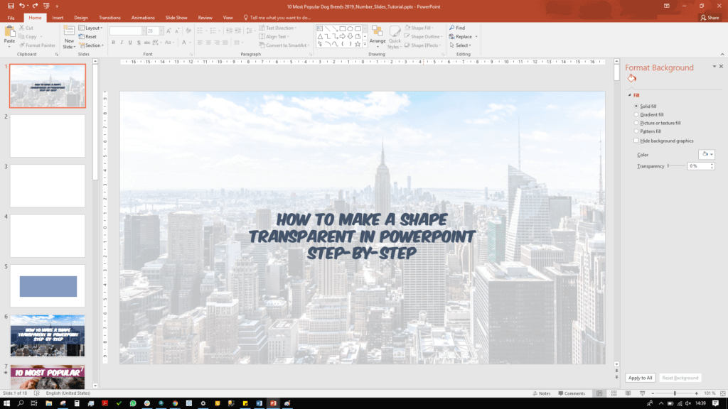 In PowerPoint text in a colour is overlaid a semi-transparent picture of New York City in the background.