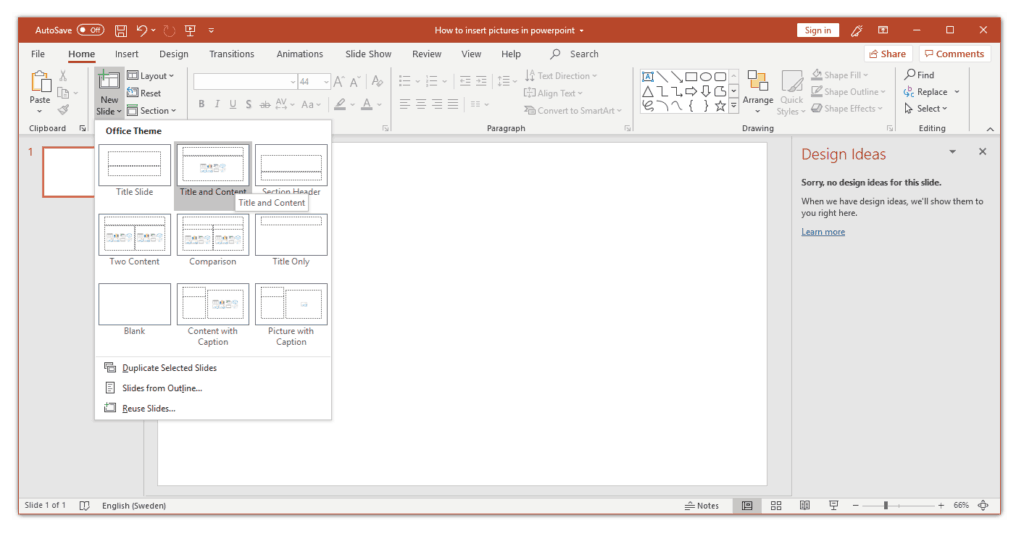 Insert Pictures in PowerPoint by content slide