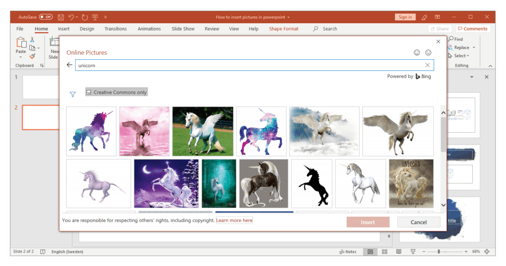 Insert Pictures in PowerPoint by online content