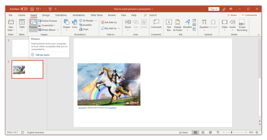 Insert Pictures in PowerPoint from the ribbon