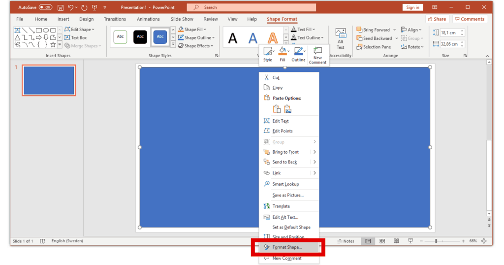 format a shape to a border in powerpoint