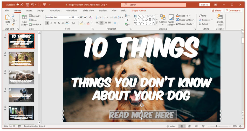 How to create a hyperlink in PowerPoint - mark the text