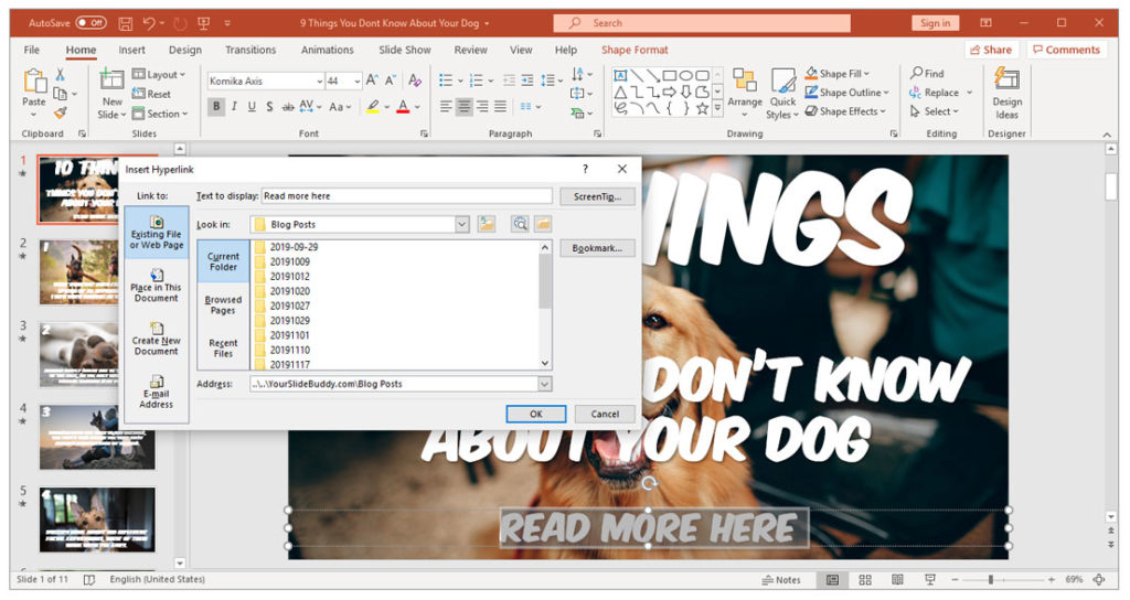 How to create a hyperlink in PowerPoint - Insert Link