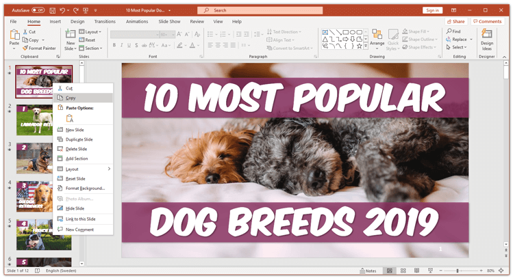 How to copy a slide in powerpoint right-click