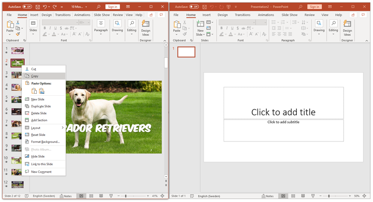 powerpoint from presentation to another presentation