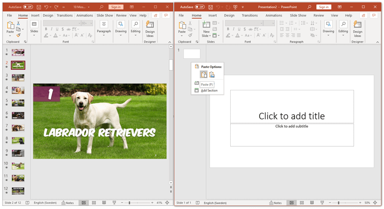 How to copy a slide in powerpoint to other presentation