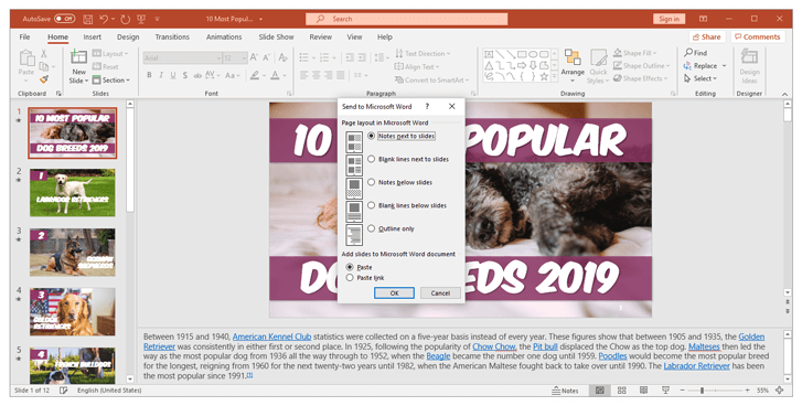 Hadnout layout in powerpoint