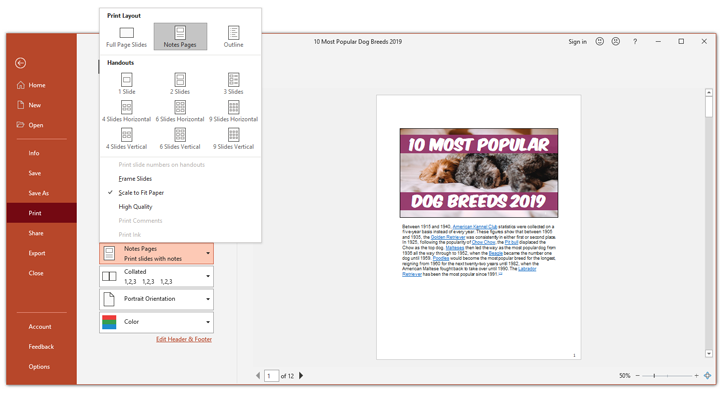 How to print notes in powerpoint the notes section