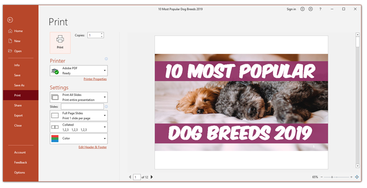 How to print powerpoint with notes print section
