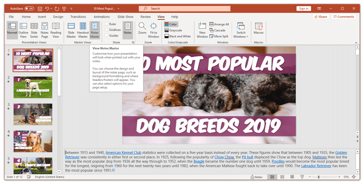 Notes Master in PowerPoint