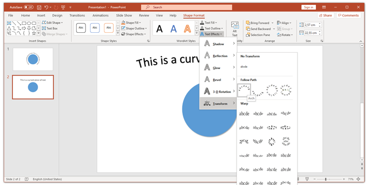 Curved wordart text in powerpoint