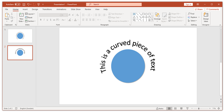 Curved text in PowerPoint