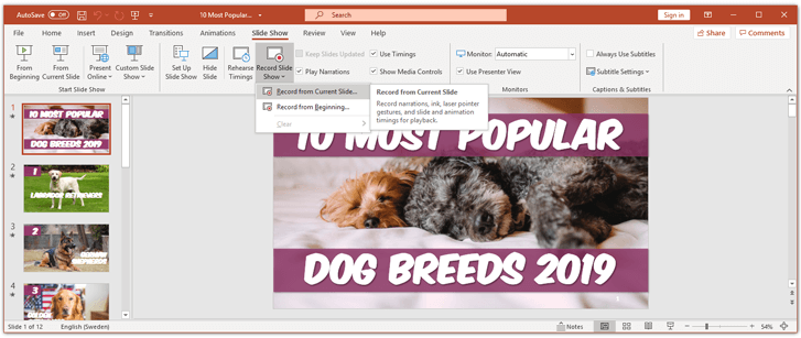 Start record a slide show in powerpoint