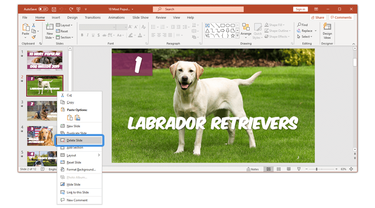 How to delete a slide in PowerPoint a single slide delete