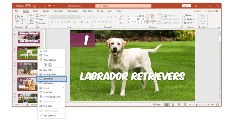 How to delete a slide in PowerPoint multiple slides final step