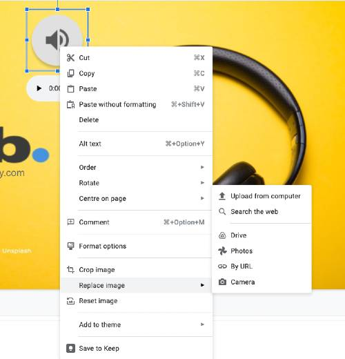 screenshot google slides - right click speaker audio icon, select format options or replace image - yourslidebuddy.com